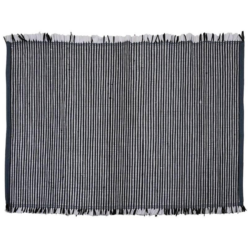 Covor dreptunghiular cu dungi alb-negru, 120x180 cm