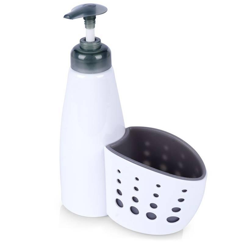 Dozator pentru săpun lichid, lichid de spălat vase, gel, bucătărie, baie, alb
