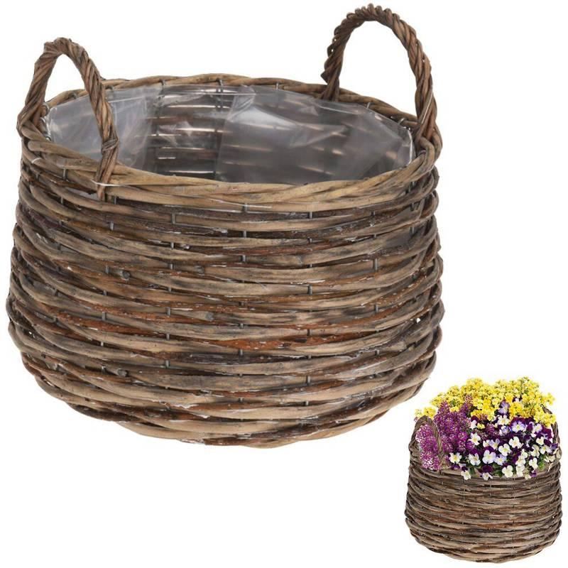 Ghiveci de flori, capac de protecție din răchită, coș, coș cu suporturi pentru flori, plante, 33x26 cm
