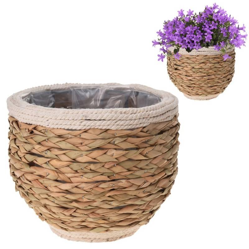 Ghiveci de flori, capac împletit, pentru flori, plante, 20x17 cm