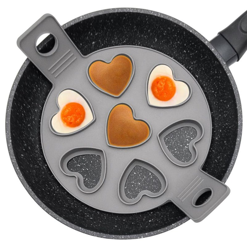 Matriță de silicon pentru ouă prăjite, pentru ouă, clătite, clătite, clătite, prăjituri, inimioare, 7 bucăți