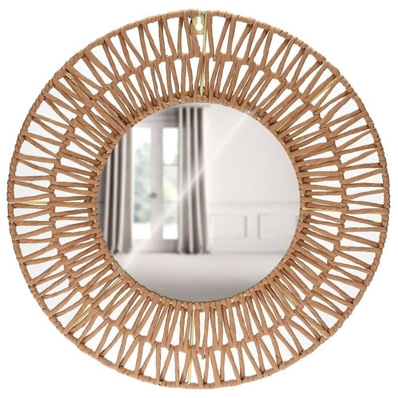 Oglindă împletită, boho, în ramă de hârtie gri, rotundă, 45 cm