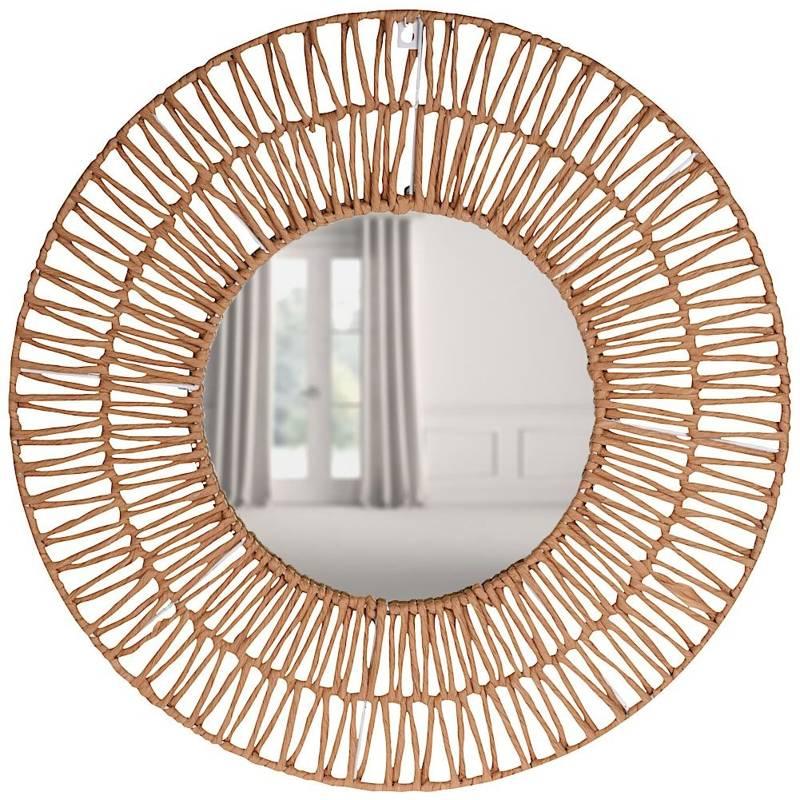 Oglindă împletită, boho, în ramă de hârtie gri, rotundă, 60 cm