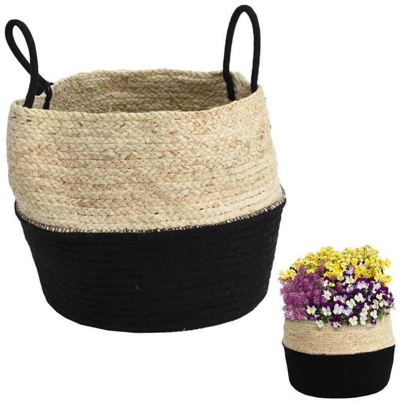 Protector, ghiveci de flori, coș boho, negru, țesut, pentru ghiveci, flori, plante, 34x28 cm