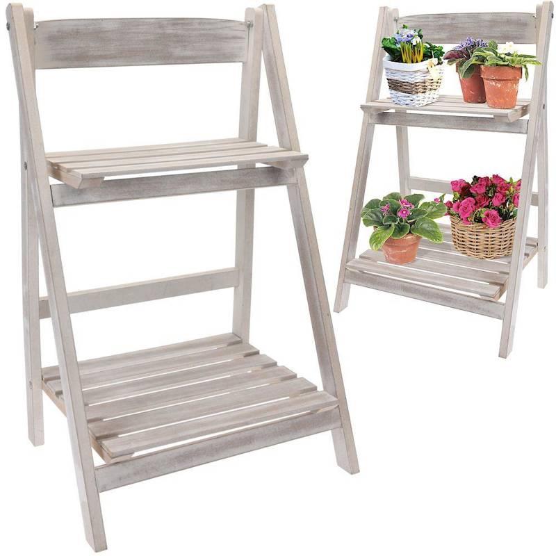 Suport de flori din lemn, raft, scara cu 2 nivele, în trepte, pentru flori, ierburi, plante, ghivece
